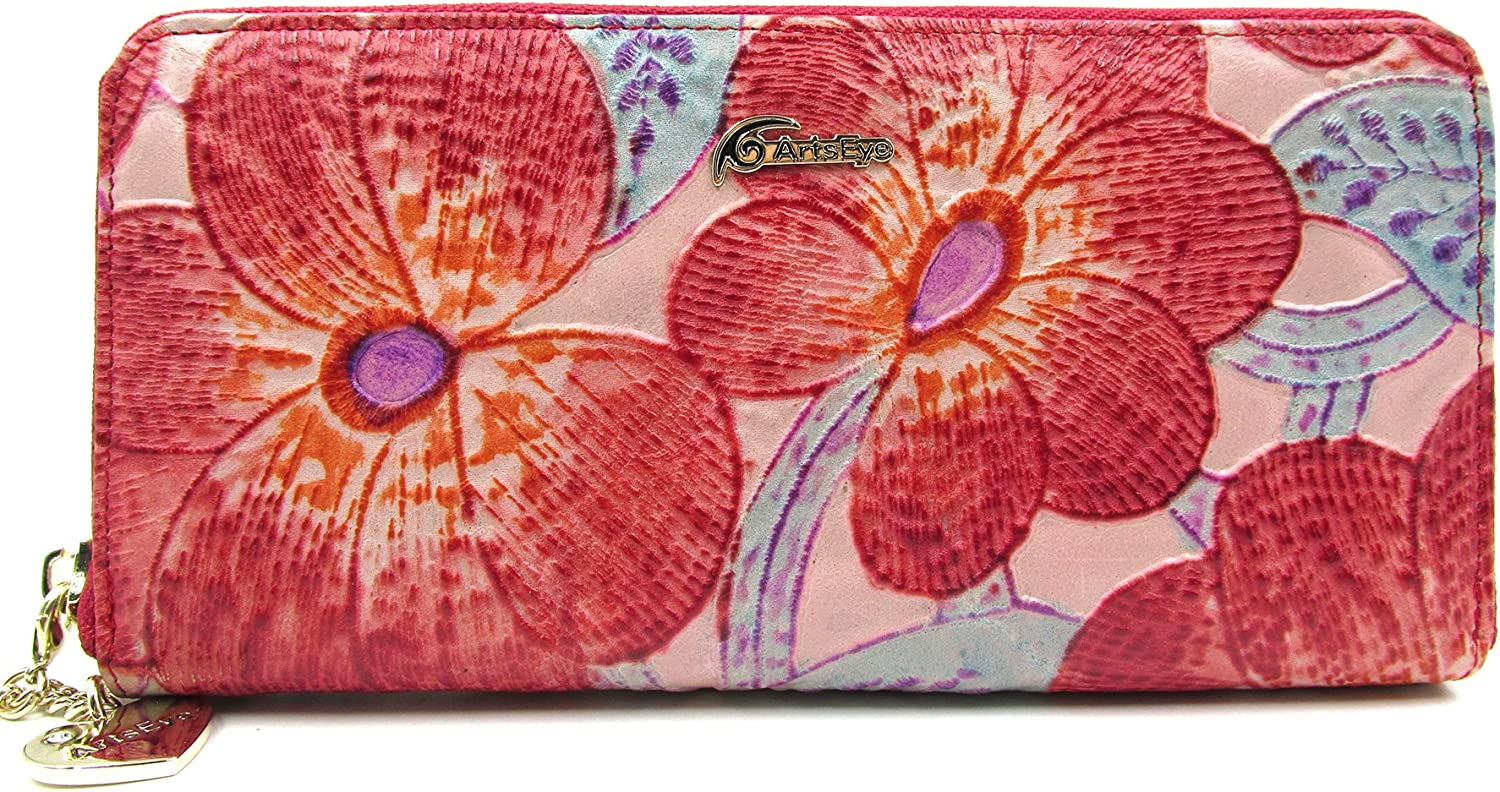 ArtsEye Women's security Cheap mail order sales Floral Embossed Genuine Around Leather Zip Walle