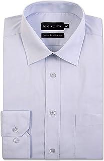 Men's Ice Grey Long Sleeve Non-Iron Cotton Rich Shirt