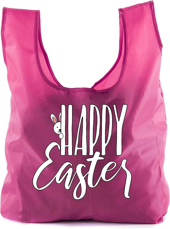 Easter Basket Bags, Bulk Reusable Grocery Bags, Easter Egg Hunt Tote Bags  Peaking Bunny  10PK Pink CA2650EasterDTG S2