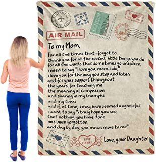 OFADD Blanket Love Letter to My Mom Personalized Printed Air Mail Throw Blankets for Couch Sofa Bed Supersoft Flannel Thro...