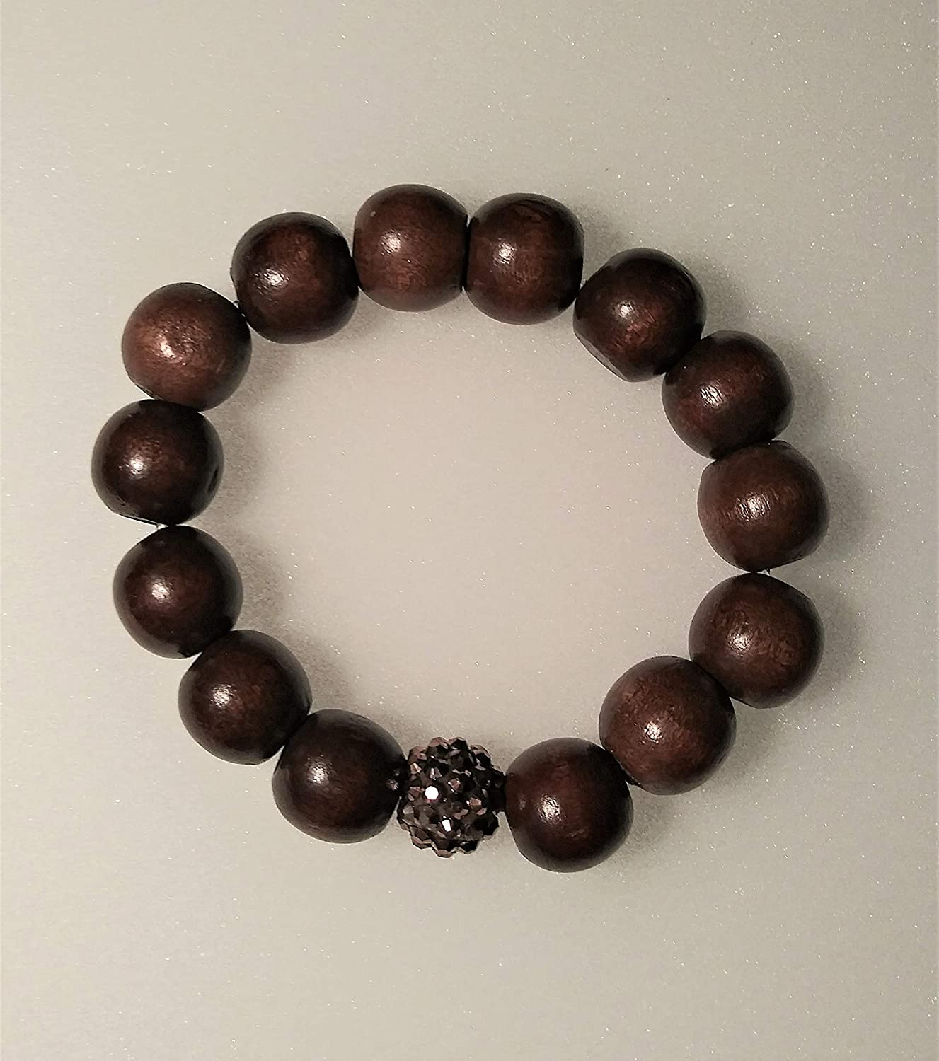 Unisex Wood Beaded Bracelet-8 inch Max 87% excellence OFF Kind A Stretchy-One Of