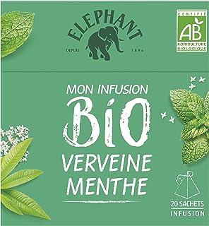 Elephant Infusion Bio Verveine et Menthe, Certifié Agriculture Biologique, Goût naturel et délicieux, 20 Sachets