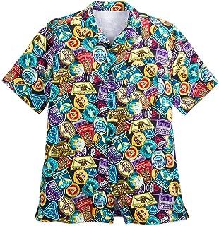 Parks Walt Disney World Passport Collection Stamps Camp Shirt Mens (XL)