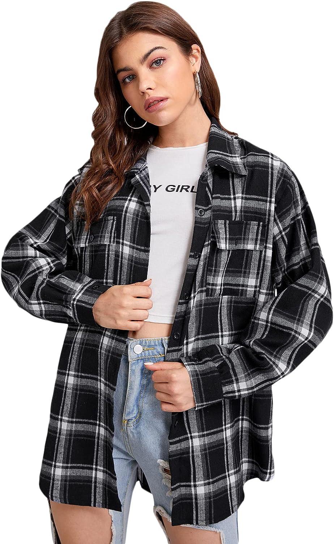 SheIn Women's Long Sleeve Pockets Collar Plaid Button Down Shirt Blouse Tops Boyfriend Shirts