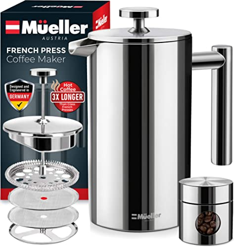 Mueller French Press Double Insulated 310 Stainless Steel Coffee Maker 4 Level Filtration System, No Coffee Grounds, ...