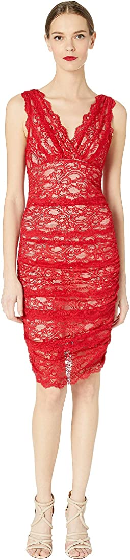 Evelin Stretch Lace Ruched Dress