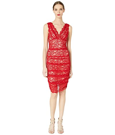 Nicole Miller Evelin Stretch Lace Ruched Dress (Red) Women