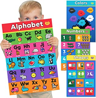 Alphabet Posters for Preschoolers, Numbers, Shapes & Colors - 4 Count Learning Posters for Toddlers - Kindergarten Classro...