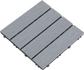 Samincom Deck Tiles Interlocking Wood-Plastic Composites Patio Pavers, Water Resistant Flooring Tiles Indoor Outdoor, 12