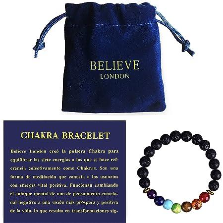 Believe London Pulsera Chakra con Bolsa de Joyería & Tarjeta de Significado   Pulsera Ajustable para Cualquier Muñeca   7 Chakra Piedra Natural   Sanación Reiki Yoga