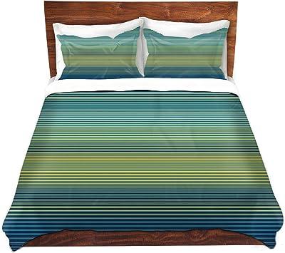 88 x 88, Kess InHouse Trebam Bluz V.3 Blue Geometric Featherweight Queen Duvet Cover