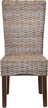Safavieh Home Collection Ozias Grey Wicker 18-inch Dining Chair (Set of 2)