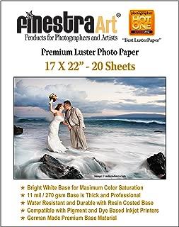 17X22 Premium Luster Inkjet Photo Paper 20 Sheets