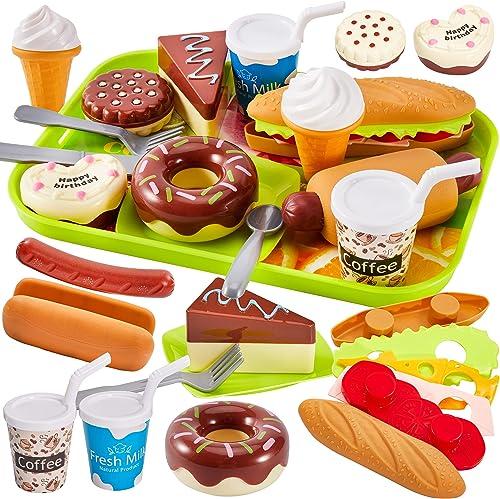 HERSITY Jeux D'imitation Cuisine Dinette Enfant avec Plateau, Jouet Hamburger Gâteau Dessert Aliment Jeux, Éducatif C...