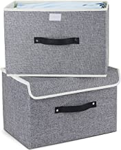 Storage Bins Set,MEE'LIFE Pack of 2 Foldable Storage Boxes Cubes with Lids and Handles Fabric Storage Basket Bin Organizer...