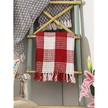 THE BEER VALLEY Buffalo Plaid Cotton Throw with Fringes 50x60 Inch -Red White, Cotton Throw for Sofa, Chair, Bed, & Everyday Use, Well Crafted for Durability, Farmhouse Throw,All Season Throw Blanket