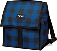 PackIt Freezable Deluxe Large Lunch Bag with Shoulder Strap, Navy Buffalo