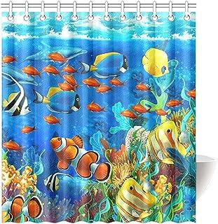 KXMDXA Blue Ocean Tropical Fish Coral Undersea World Waterproof Fabric Bathroom Shower Curtain 66 x 72 Inch