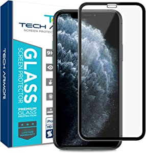 Tech Armor Edge to Edge Glass Screen Protector for New 2019 Apple iPhone 11 Pro Max/iPhone Xs Max - Case-Friendly Tempered Glass, 3D Touch Accurate (Black) [1-Pack]