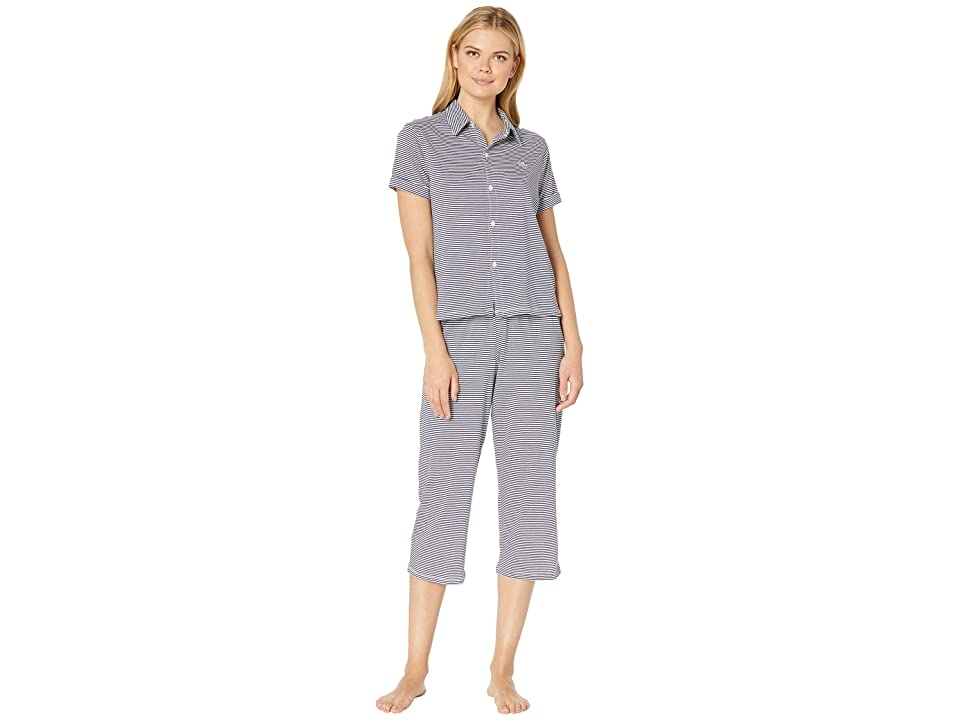 LAUREN Ralph Lauren Roll Cuff Capris Pajama Set (Blue Stripe) Women