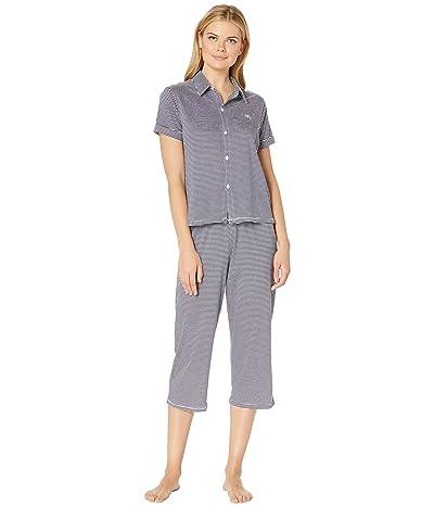 LAUREN Ralph Lauren Roll Cuff Capris Pajama Set (Blue Stripe) Women