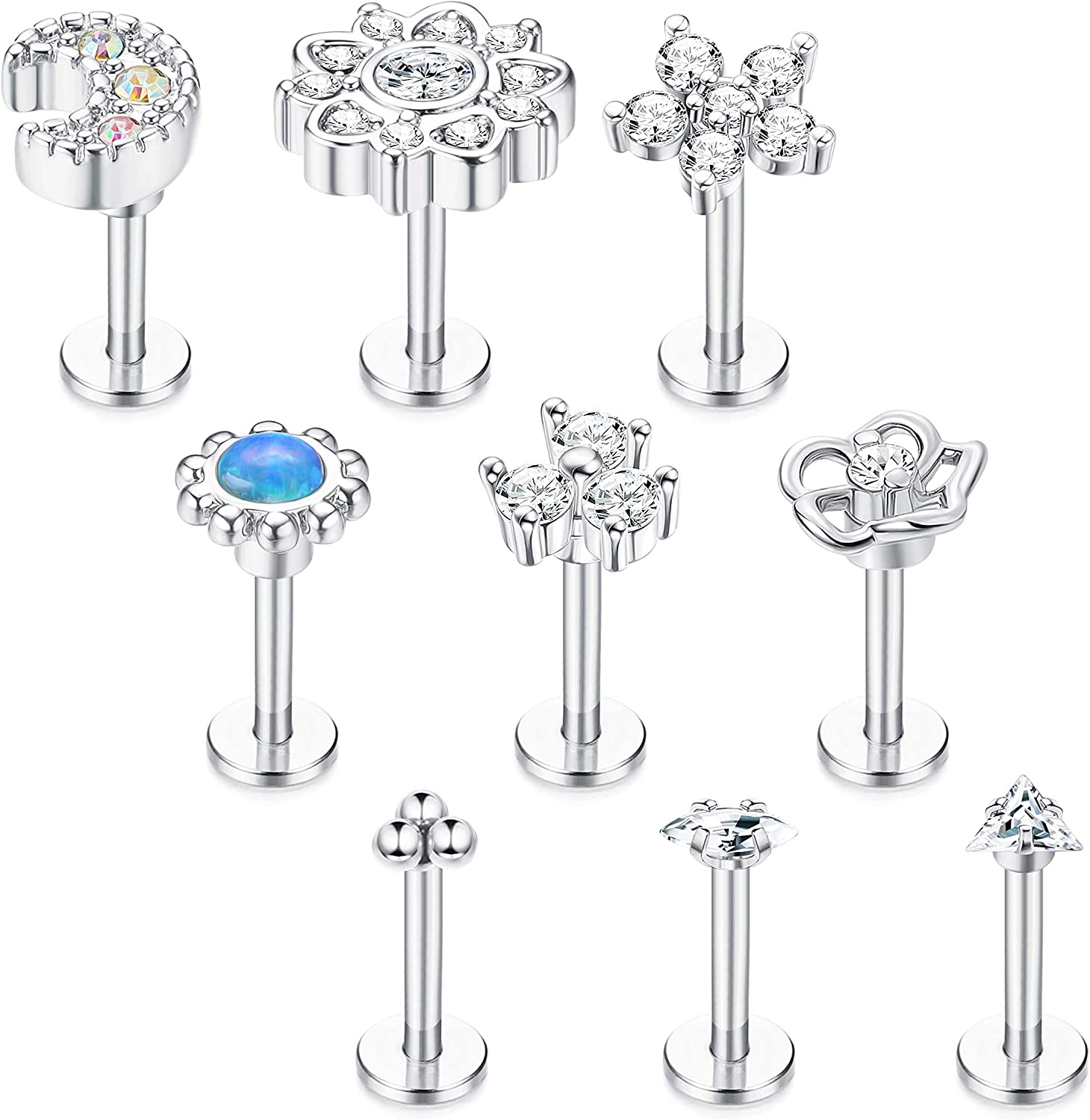 Drperfect 9 Pcs 16G Stainless Steel Ranking TOP2 for Tragus Earrings Women 2021 Me