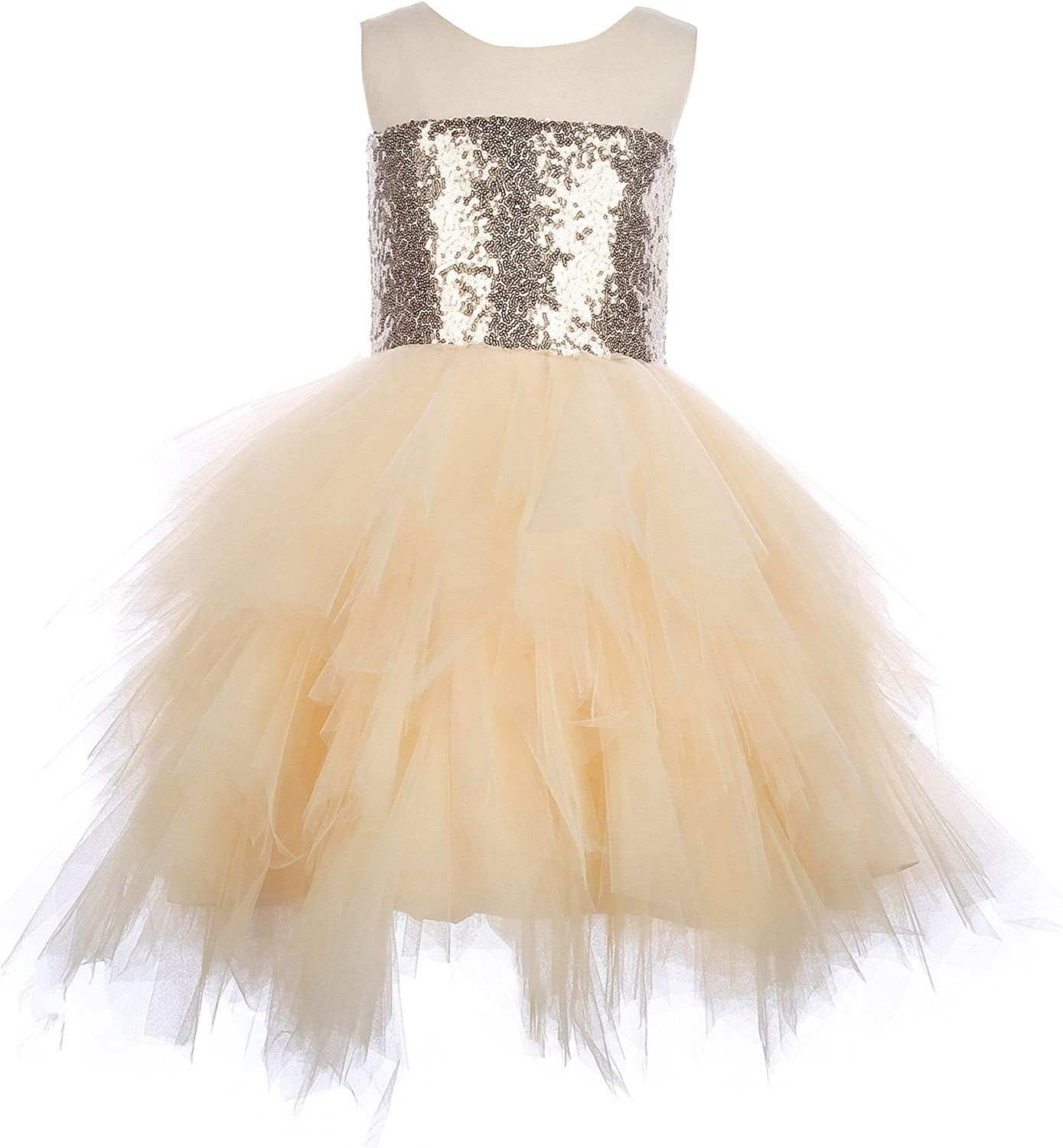 Mrprettys Champagne Sequin Tullee Flower Girl Dresses Special Occasion Dress