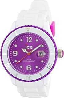 ICE-Watch - Montre Mixte - Quartz Analogique - Ice-White - White - purple - Big - Cadran Violet - Bracelet Silicone Blanc...