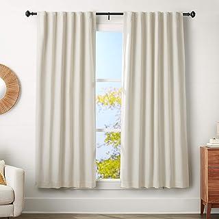 AmazonBasics 1.25-Inch Curtain Rod with Knob Finials - 72 to 144 Inch, Black
