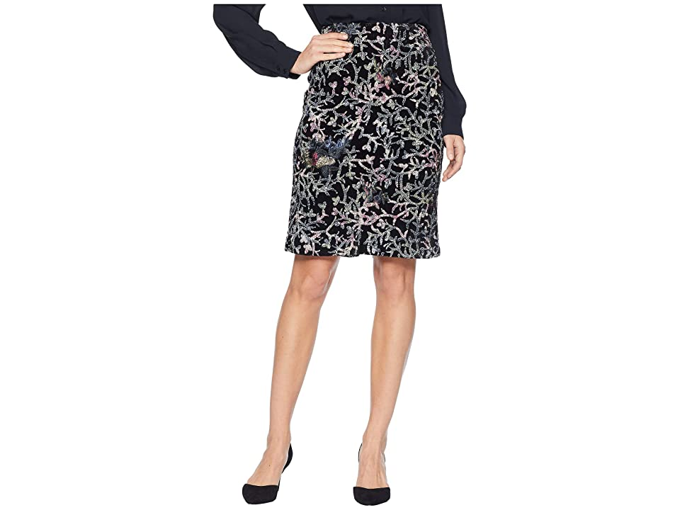 Tahari by ASL Sequin Embroidered Skirt on Velvet (Black/Blue/Pink) Women