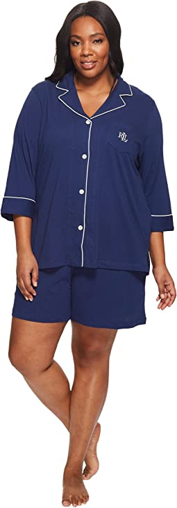 Plus Size 3/4 Sleeve Notch Collar Boxer PJ Set