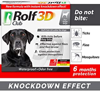 Rolf Club 3D FLEA Collar for Dogs - Flea and Tick Prevention for Dogs - Dog Flea and Tick Control for 6 Months - Safe Tick Repellent - Waterproof Tick Treatment (L)
