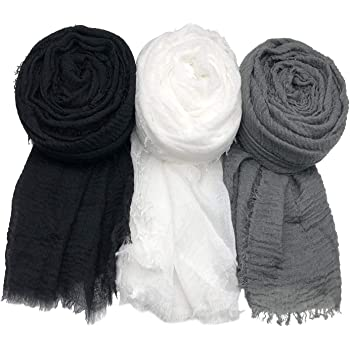 MANSHU 3 PCS Women Soft Scarf Shawl Long Scarf, Scarf and Wrap, Big Head Scarf