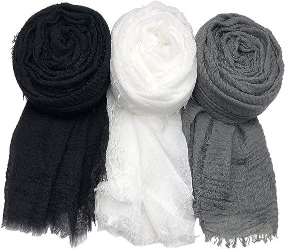 MANSHU 3PCS Women Soft Cotton Hemp Scarf Shawl