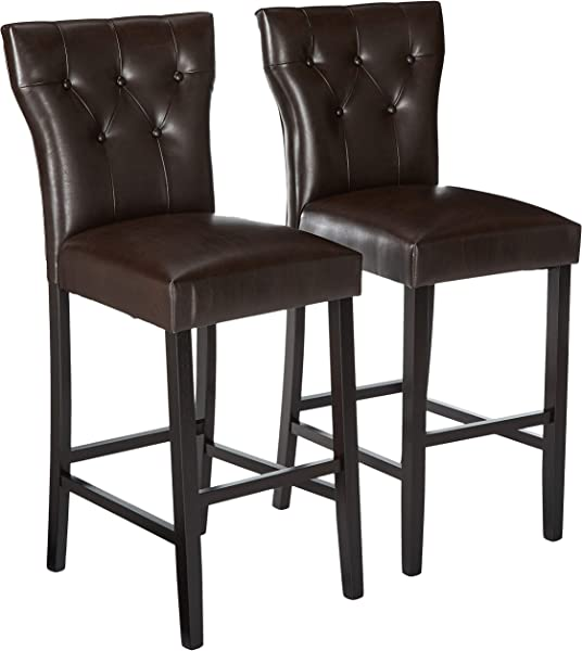 Christopher Knight Home 296642 Pierre Bonded Leather Barstool Set Of 2 Brown