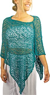PI Women's Handmade Crochet Shawl One Size Off The Shoulder Sweater, One Size