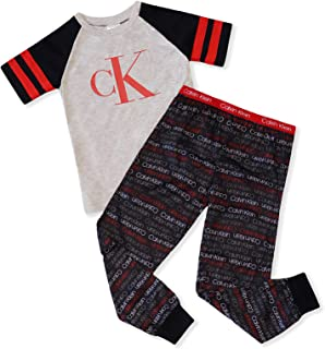 Calvin Klein Boys' 2 Piece Sleepwear Long Sleeve Top and Bottom Pajama Set Pj