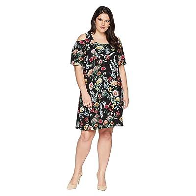 Karen Kane Plus Plus Size Cold Shoulder Dress (Floral) Women