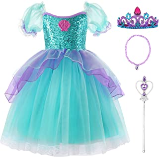 Vgolar Girls Costumes Mermaid Tulle Dress Puff Sleeve Dress with Accessories
