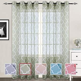 Moroccan Tile Design Linen Like Sheer Voile Curtain Lattice Grommet Top Window Panels Drapes for Bedroom Living Room Window Patio Door Set of 2 52 Inch x 95 Inch Green