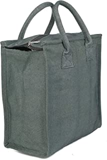 Anshika International Green Denim Lunch Bag with Bottle Holder - Good for Travel School Office to Carry Tiffin Box 12 x 5 ...