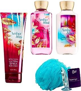 Amber Blush Loofah Set (4 Pc) 8 oz Body Lotion, 8 oz Body Cream, 10 oz Shower Gel and Loofah