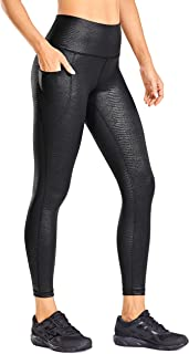 CRZ YOGA Women's Coated Faux Leather Legging High Waist Pants Workout Tights with Pockets -23 Inches