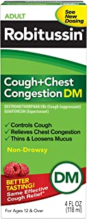 Robitussin Peak Cold Adult Cough + Chest Congestion DM (4 fl. oz. Bottle), Non-Drowsy, Cough Suppressant & Expectorant