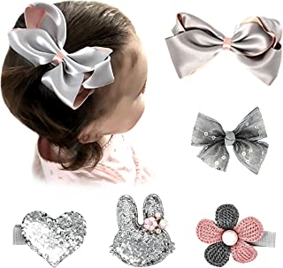 Pink and Boo Gift Set of Hair Bows, Alligator Clips, Barrettes, and Accessories for Fine Infant and Toddler Girls Hair