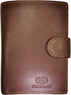 JEPH LAN Men Genuine Leather Trifold Wallet RFID Blocking Card Holder with 3 ID Windows and Coin Pocket