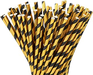 ALINK Black Gold Paper Straws, Pack of 100 Biodegradable Metallic oil Gold Striped Disposable Straws for Birthday, Wedding, Bridal/Baby Shower, Celebrations and Party Supplies