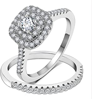 925 Sterling Silver Bridal Sets CZ Wedding Rings Shining Engagement Ring Set for Women Size 5-12