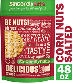 Sincerely Nuts Roasted and Salted Corn Nuts (3 LB) - Vegan, Kosher & Gluten-Free-Corn Kernels - Healthy and Tasty Snack for the Whole Family - Delicious Cracker-Like Treat - Healthy Fats to Fill Up On