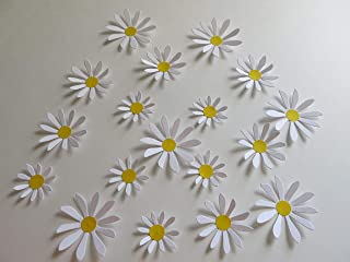 Cute Daisy Stickers, 18 Handmade Paper Flower Wall Decals 2-3 Inch Daisies to Decorate With